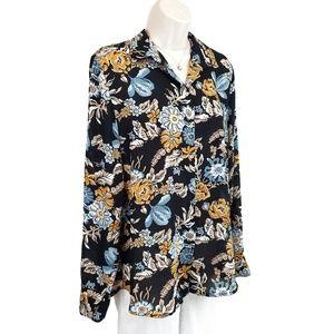 H&M semi-sheer floral button down top